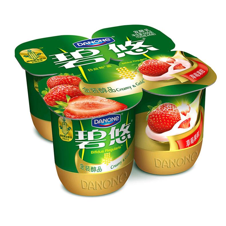 达能草莓果粒发酵乳125g*4