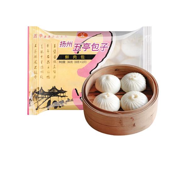 五亭 鲜肉包 360克(12只 扬州包子 淮阳早餐  馒头花卷)