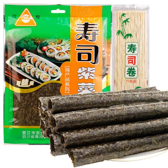 川珍 寿司紫菜28g 寿司海苔 紫菜包饭 10片 送竹帘卷帘