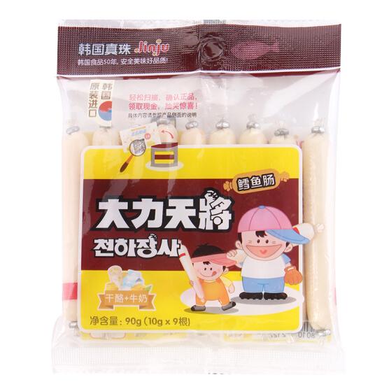 韓國進口 真珠 鱈魚腸火腿腸 大力天將 牛奶奶酪味兒童鱈魚腸 90g(10g*9根入)