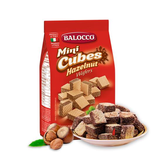 意大利原裝進口 百樂可(BALOCCO)休閑零食 榛仁味 蛋糕 夾心威化餅干 250g早餐下午茶