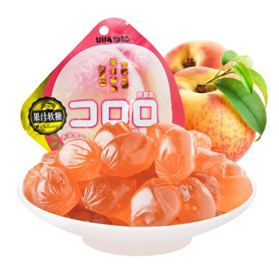 悠哈 網紅零食  爆漿軟糖 酷露露 桃子味果汁軟糖果 52g