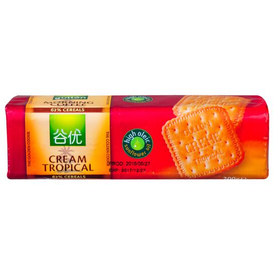 西班牙进口 谷优(Gullon) 热带奶油 饼干 进口零食 早餐  200g