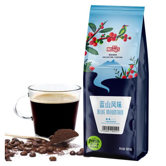 铭氏Mings 蓝山风味咖啡粉500g 精选系列 进口咖啡豆研磨(非速溶)