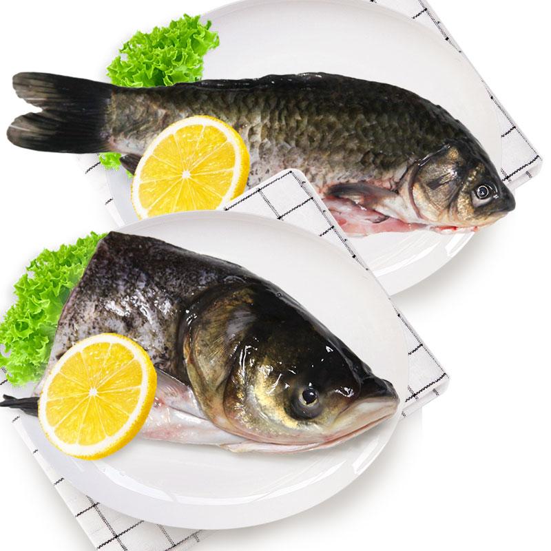 光明渔业花鲢头1*650g,小鲫鱼1*350g