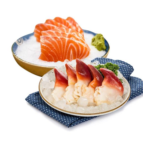 三文鱼拼北极贝刺身(冰鲜)