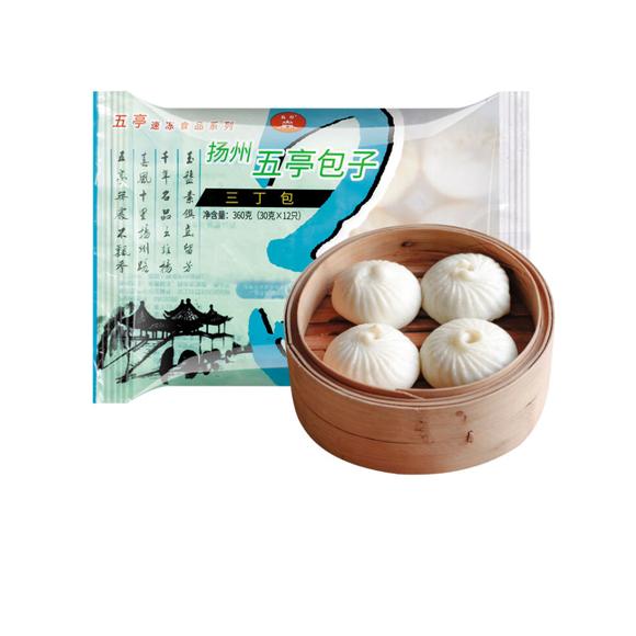 五亭 三丁包 360克(12只 扬州包子 淮阳早餐  馒头花卷)