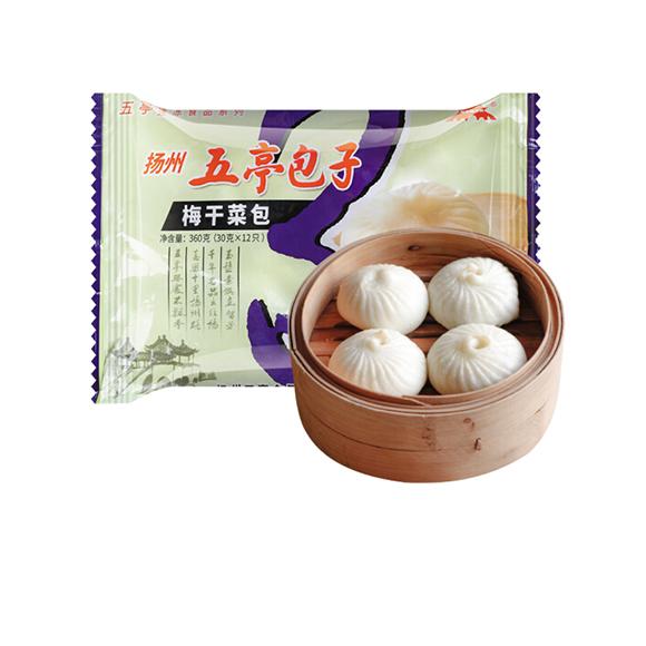 五亭 梅干菜包 360克(12只  扬州包子 淮阳早餐  馒头花卷)