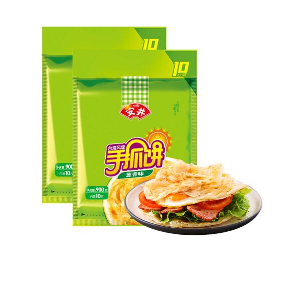 安井 台湾风味手抓饼 葱香味 900g*2 10片装 早餐 培根 葱油饼 早茶点心