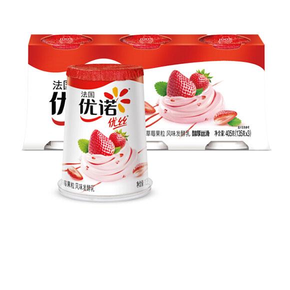 优诺 优丝 草莓果粒 135g*3   酸奶酸牛奶风味发酵乳