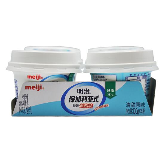 明治 meiji 低脂肪清甜原味 100g*4 保加利亚式酸奶酸牛奶 凝固型