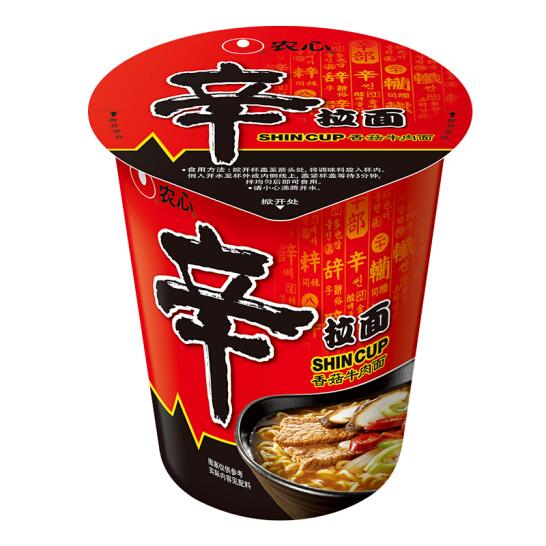 農心(NONG SHIM) 香菇牛肉味辛拉面 方便面 杯面泡面速食零食品 65g