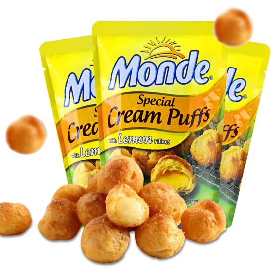 菲律宾进口 道吉草奶油夹心泡芙 柠檬味25g*3袋 休闲零食 网红甜点小吃