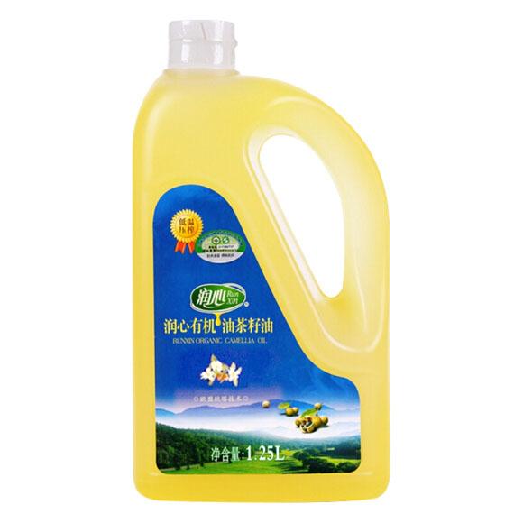 润心 有机油茶籽油1.25L 食用油 低温压榨 山茶油 餐饮用油 新老包装更替