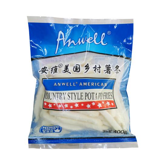安维(Anwell)美国进口乡村薯条 400g 非转基因粗薯条冷冻 方便速食 油炸小食牛排方便面食搭档半成品菜