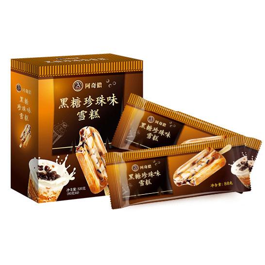 阿奇儂 ACHINO (中國)臺灣進口 黑糖珍珠味雪糕80g*4支/盒 網紅推薦臺式冰淇淋