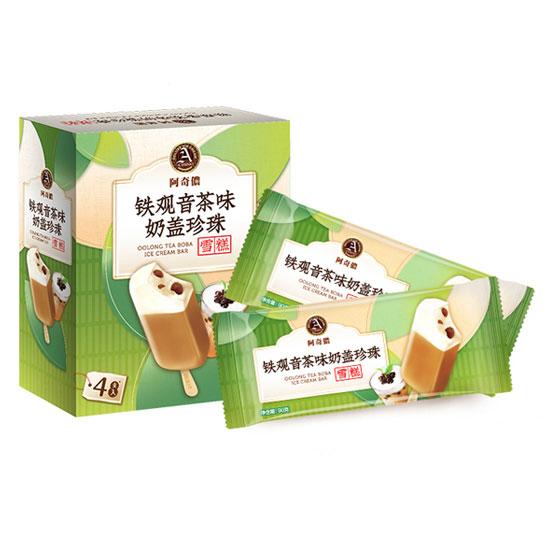 阿奇儂 ACHINO 新舊包裝更替(中國)臺灣進口鐵觀音茶味奶蓋珍珠雪糕90g*4支/盒  冰淇淋
